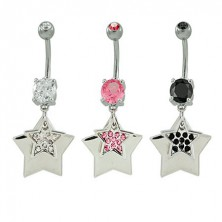 Navel ring with stars and rhinestones