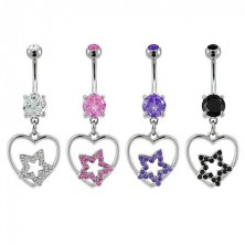 Navel ring - star in heart, different colour versions