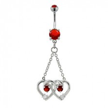 Belly button ring - two tangled hearts