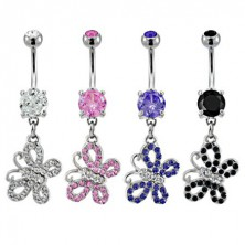 Belly ring - two colour butterfly with zircons