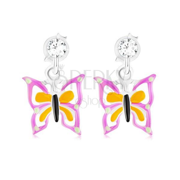 Violet earrings Butterfly earrings Cute stud Violet butterfly earrings Butterfly ear stud Violet stud,Modern jewelry Romantic earrings