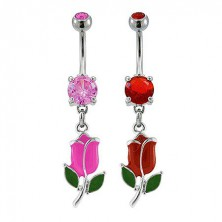 Colorful tulip flower belly button ring