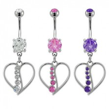 Belly ring with heart and line of zircons