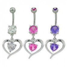 Zirconic heart belly ring