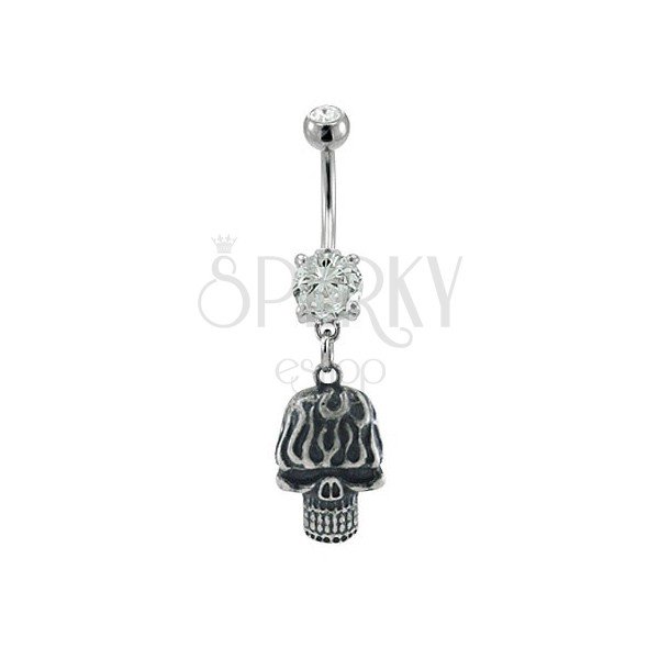 Navel ring - skull with bared teeth