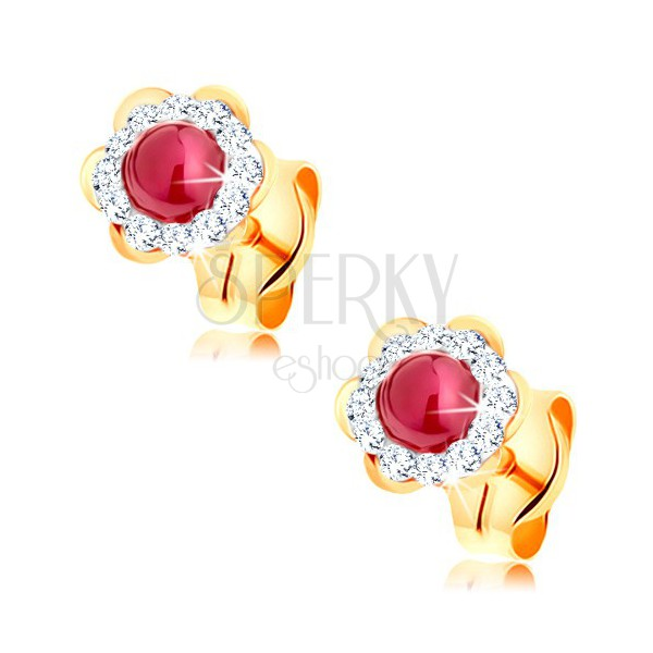 0989109790a9d 585 gold earrings - lustrous flower with round ruby in the middle ...