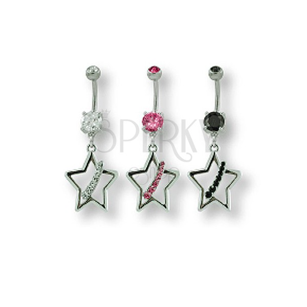 Star belly ring with zircons