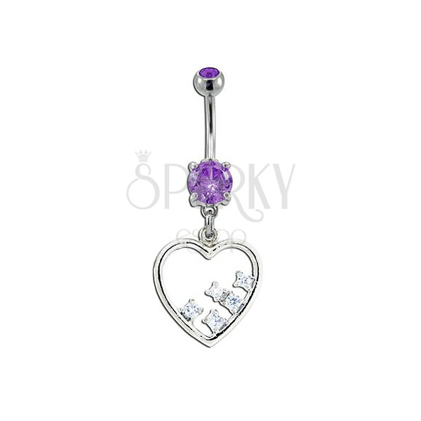 Navel ring - dangle heart