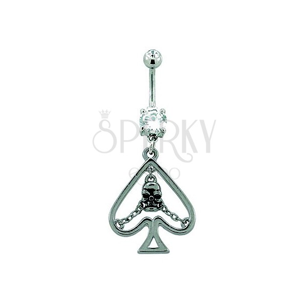 Navel ring - card spade symbol with skull