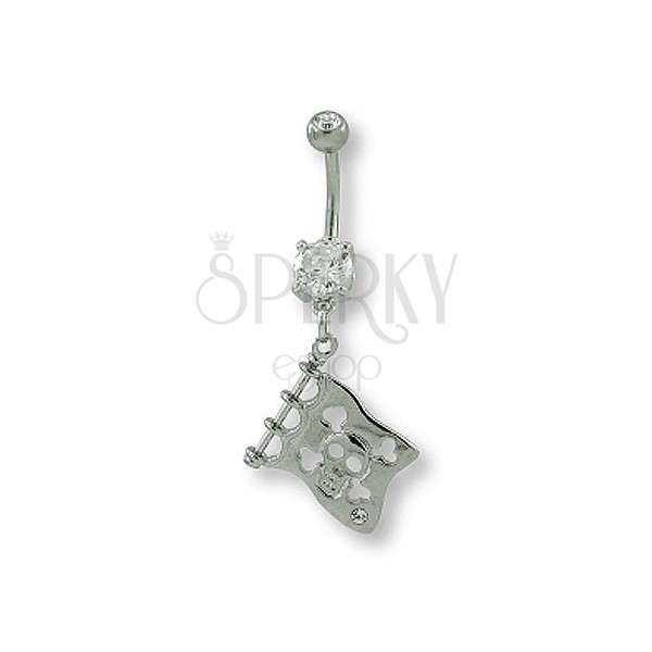 Belly button ring - flag and skull