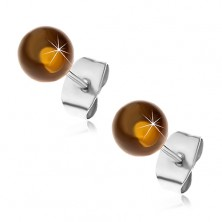 Stud steel earrings, semi-transparent yellow-brown balls, 6 mm