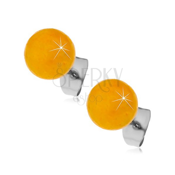 Steel stud earrings, yellow-orange balls, 8 mm