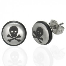 Steel earrings in silver colour, ball with skull and black rubber band