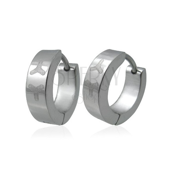 Stainless steel earrings - hoops with Y-letters