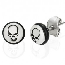 Steel earrings - circle with black skull and rubber band