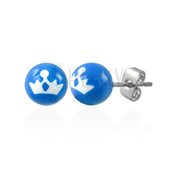 Steel ball earrings - princess crown