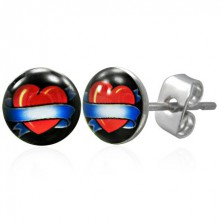 Steel earrings - heart with blue ribbon
