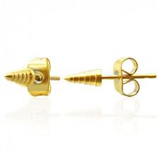 Stainless steel earrings - golden spikes