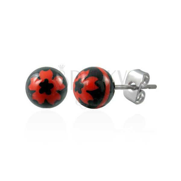 Steel earrings with black balls - red flower
