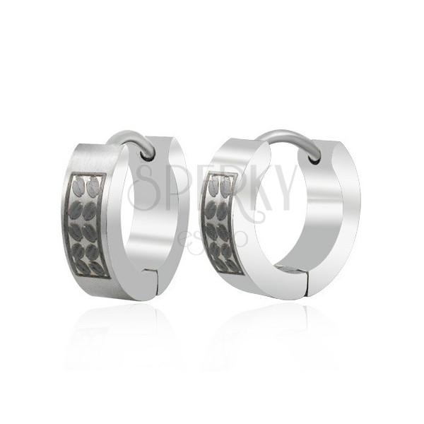 Silver - black steel earrings - coffee beans