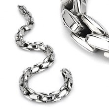 Bracelet made of 316L steel in silver colour, shiny chain composed of angular links