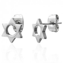 Steel earrings in silver colour - six-point star with round cutout