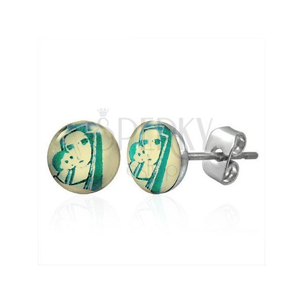 Stud earrings made of steel in a silver colour - portrait of Madonna with a child