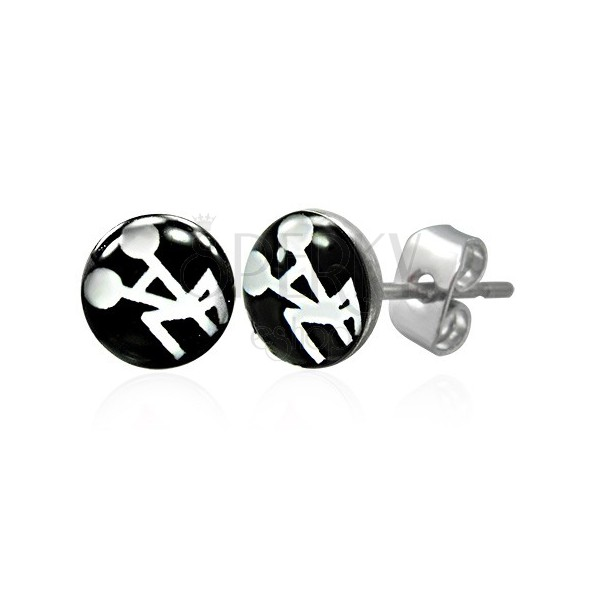 Black - white steel earrings - sexual pattern
