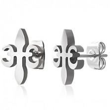 Steel earrings - Fleur De Lis cross