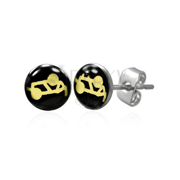 Steel earrings in a silver colour - sexual position on a black background, clear glaze