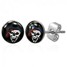 Stainless steel earrings - pirate skull