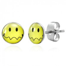 Earrings made of steel - yellow smiley with waved mouth, studs