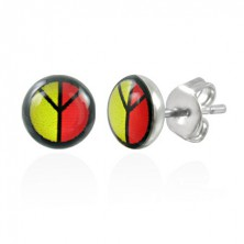 Colourful steel earrings - PEACE