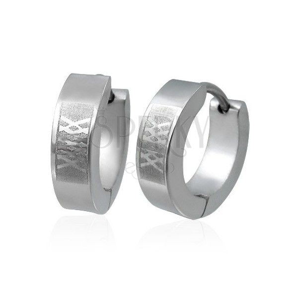 Huggie steel earrings - matt lattice pattern