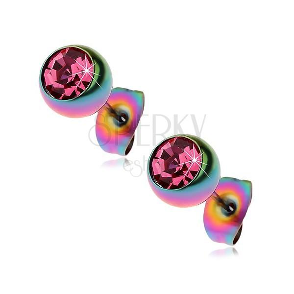 Steel earrings, rainbow balls with pink zircon, 7 mm