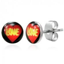 Steel earrings - heart with LOVE
