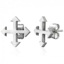 Steel earrings in silver hue - compass rose
