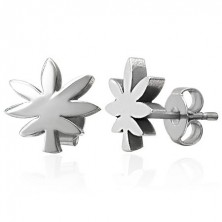 Steel earrings in silver colour - cannabis leaf