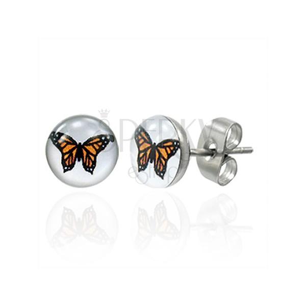 Steel earrings - orange butterfly