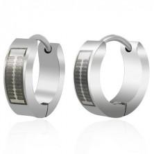 Huggie steel earrings - engraved black pattern