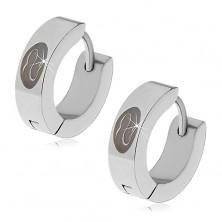 Steel earrings with hinged snap fastening, wavy snake in black oval