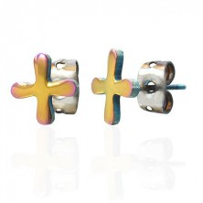 Colourful steel earrings with TABONO symbol