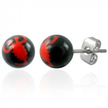 Black ball earrings - red scorpion