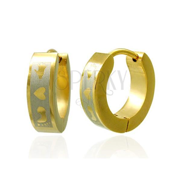 Golden colour steel earrings - foot, heart, hand