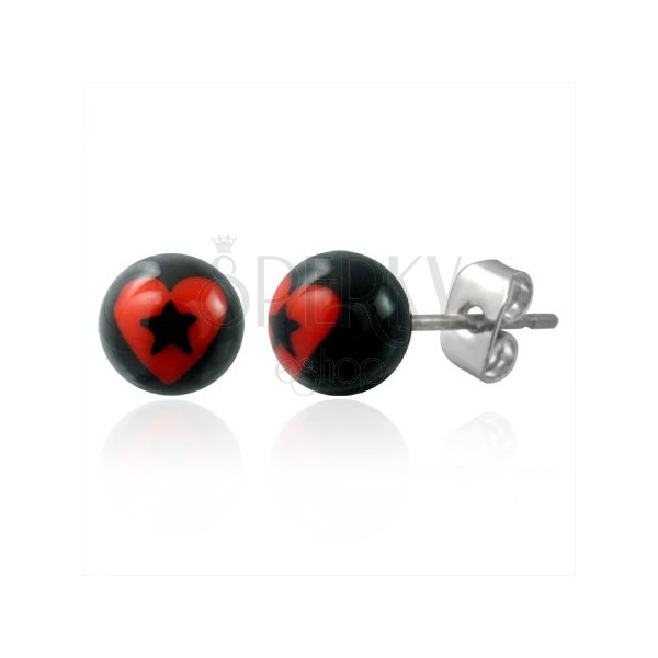 Stud steel earrings - heart with star