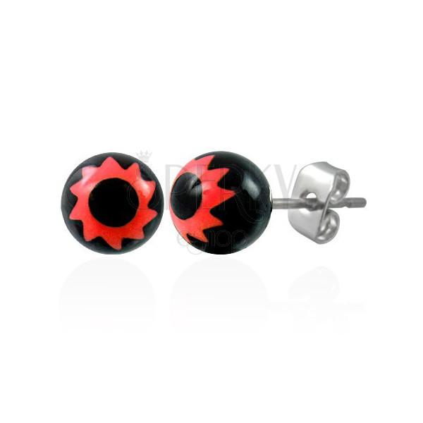 Black steel balls - red flower symbol