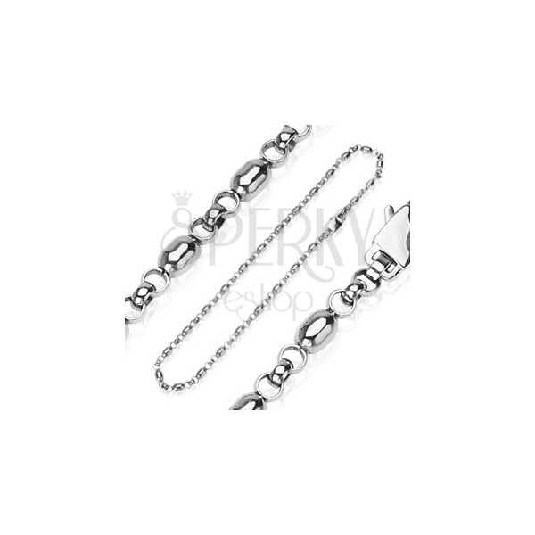 Stainless steel chain with oval beads