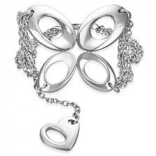 Chain steel bracelet - butterfly and heart
