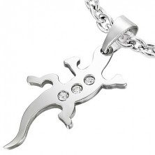 Stainless steel pendant - lizard with zircons