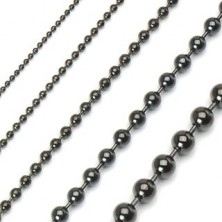 Black military style stainless steel ball chain
